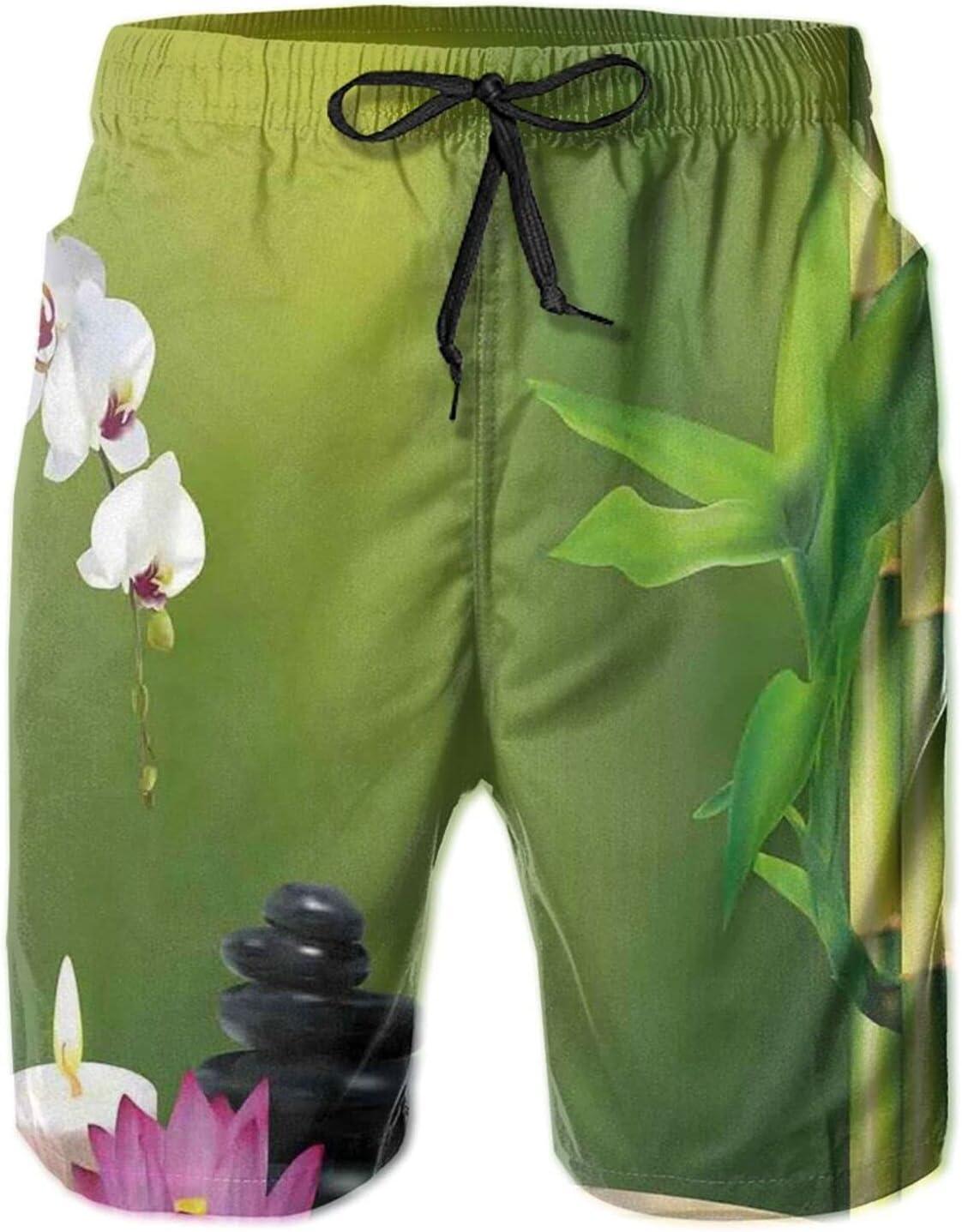 YAZXHJAZ Men's Board Shorts Spa Bamboo Flower Zen Stone Quick Dry Swimwear Beach Trunks