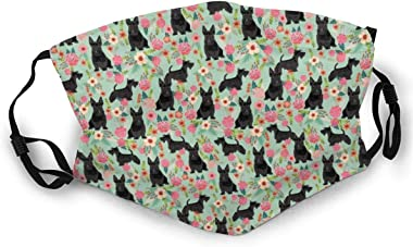 420 Scottie Dog Florals Fabric Scottish Terrier Dog Fabric Unisex Wind and dust mask Summer Breathable mask