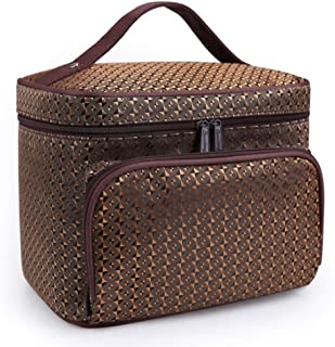 YXHM AU New Wash Bag Cosmetic Bag Foldable Jacquard Material Large Capacity Cosmetic Storage Bag (Color : Gold)