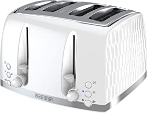 BLACK+DECKER Honeycomb Collection 4-Slice Toaster with Premium Textured Finish, TR1450WD, White
