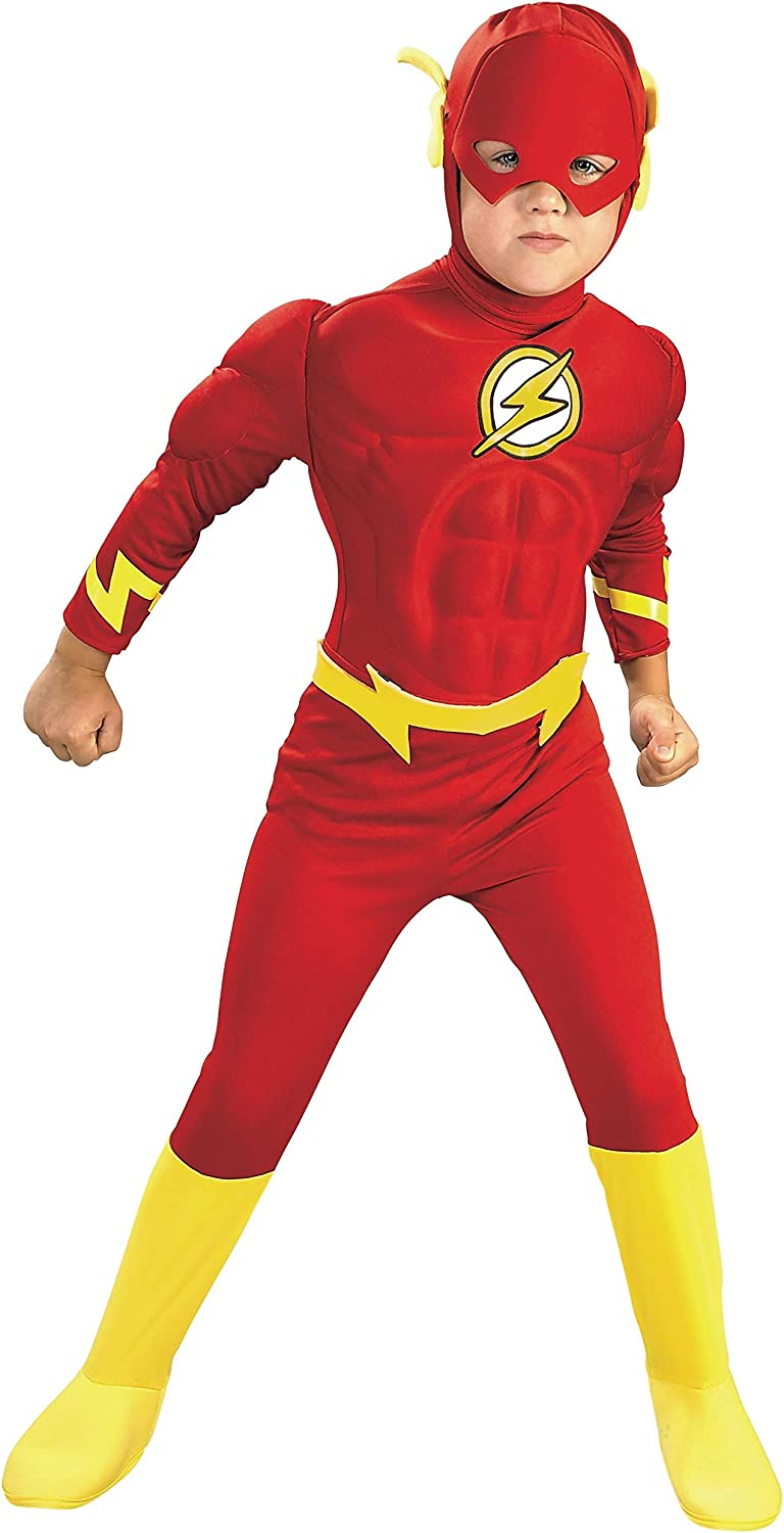 Rubie's DC Comics Deluxe Muscle Chest The Flash Child's Costume, Large