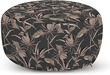 Ambesonne Floral Ottoman Pouf, Hand Drawn Exotic Flowers and Leaves in Dotted Filling, Decorative Soft Foot Rest with Removab