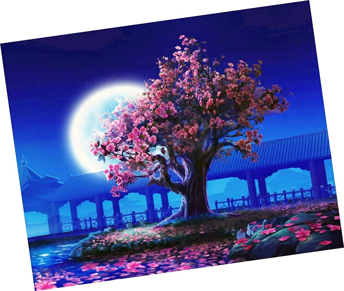 Wowdecor Paint by Numbers Kits for Adults Kids, Number Painting - Peach Blossom Trees and Bright Moon 16x20 inch (Framed)