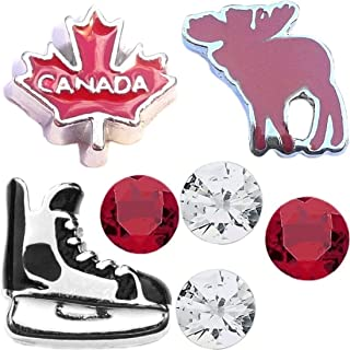 Oh Canada Moose and Hockey Charm Set for Floating Lockets Jewelry