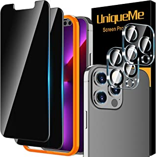 [2+2 Pack] UniqueMe Privacy Screen Protector Compatible for iPhone 13 Pro Max (6.7 inch) and Camera Lens Protector Tempere...