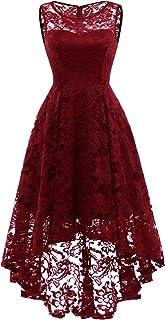 Elegante Abendkleider Cocktailkleider Damenkleider Brautjungfernkleider aus Spitzen Knielange Rockabilly Ballkleid Rund Ausschnitt