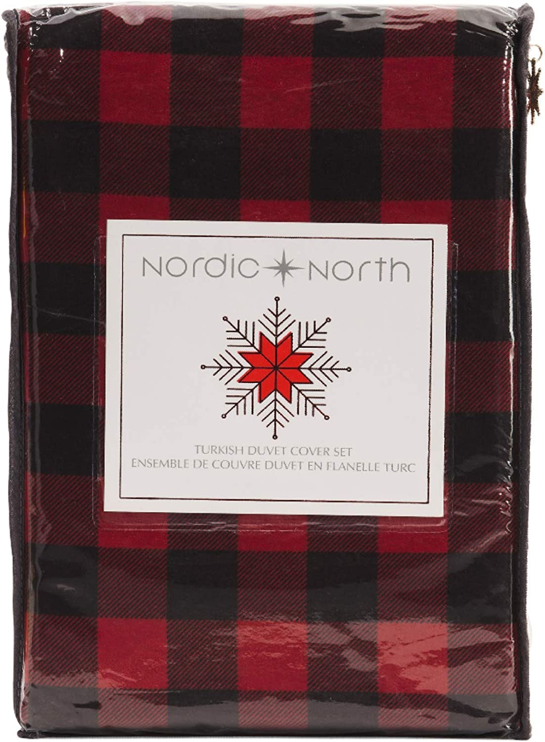 Nordic North Buffalo Plaid King Duvet Cover Set 3 Pc Flannel Turkish Cotton Lodge Cabin Black Red Checkered Bedding(King)