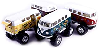 Set of 4 Hippie 1962 Classic VW Bus 4x4 Off Road Monster Truck w/ Flowers - Pull Back Toy Cars 1:32 Scale (Green/Purple/Red/Yellow)