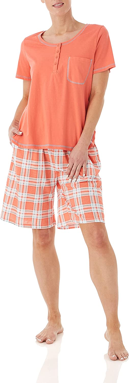 AmeriMark Women's Short Pajama Set – Checkered Woven Pants & Short Sleeve PJ Top