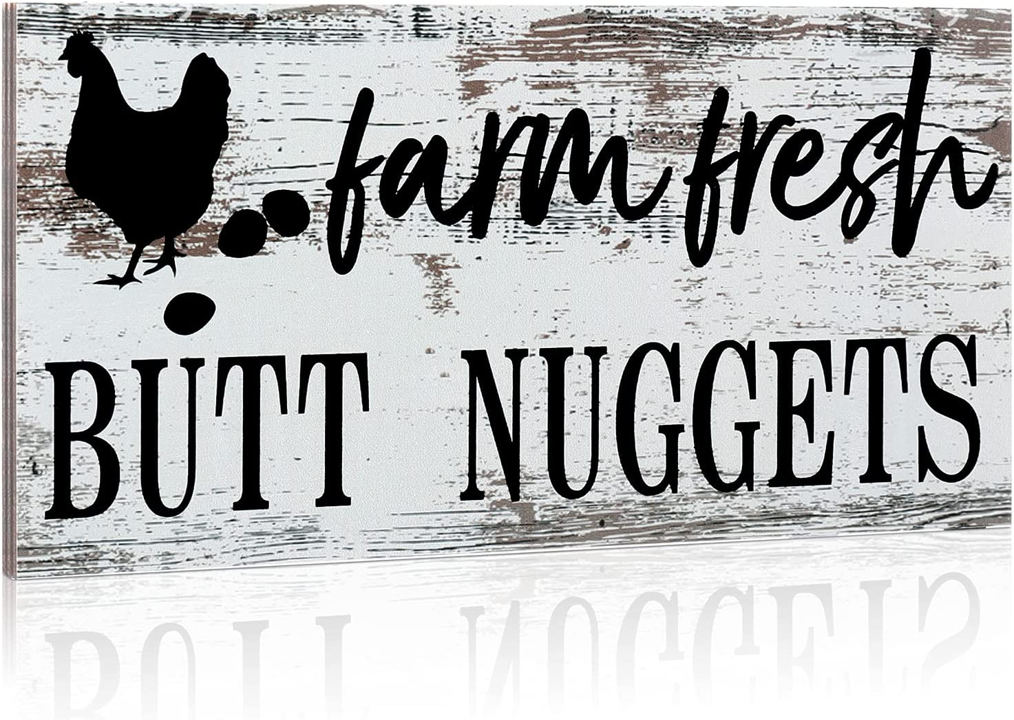 Jetec Farm Fresh Butt Nuggets Chicken Decor Wall Plaque Hanging Sign Rustic Hen House Decoration Farmhouse Wooden Wall Decoration for Home Kitchen Decoration