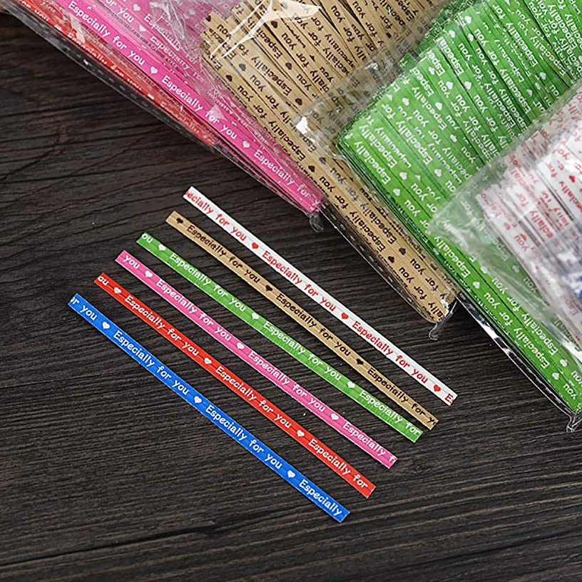 JHere 600-Piece Long Strong Twist Ties Quality Kraft ''Especially You'' Letter Print Ties Tying Gift Bags, Cellophane Party Bags, Lollipop Bags - 6 Colors, 4'' Long