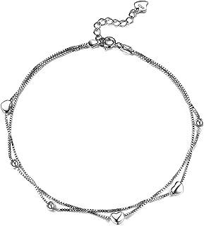 Lydreewam Amor Corazon Tobilleras Pulseras Plata de Ley 925 para Mujer Cadena de 2 Capas Verano Descalzo Playa, Ajustable ...