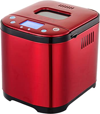 FRIGIDAIRE Bread Maker Machine with Nonstick Bowl, Bread Hook, Measuring Cup & Spoon. 15-in-1, Gluten-Free Bread, Cake& Yogurt, 3 Crust Colour options and more. 3 Loaf Sizes. 2LB XL-RED