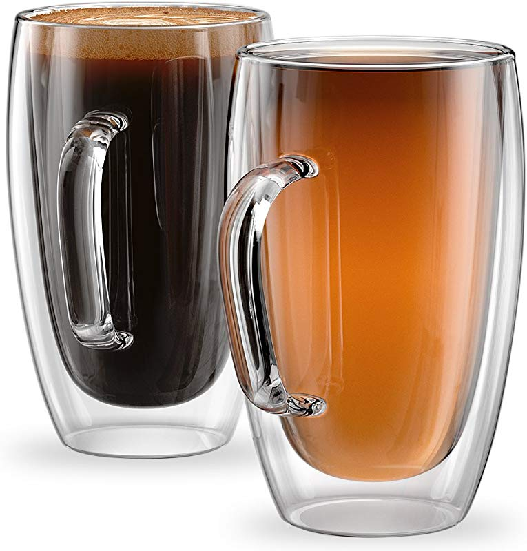Stone Mill Set Of 2 Large Double Walled Glass Coffee Cups 15 Ounce Sicilia Collection Tall Insulated Mugs For Espresso Latte Cappuccino Tea Box Set AM 13