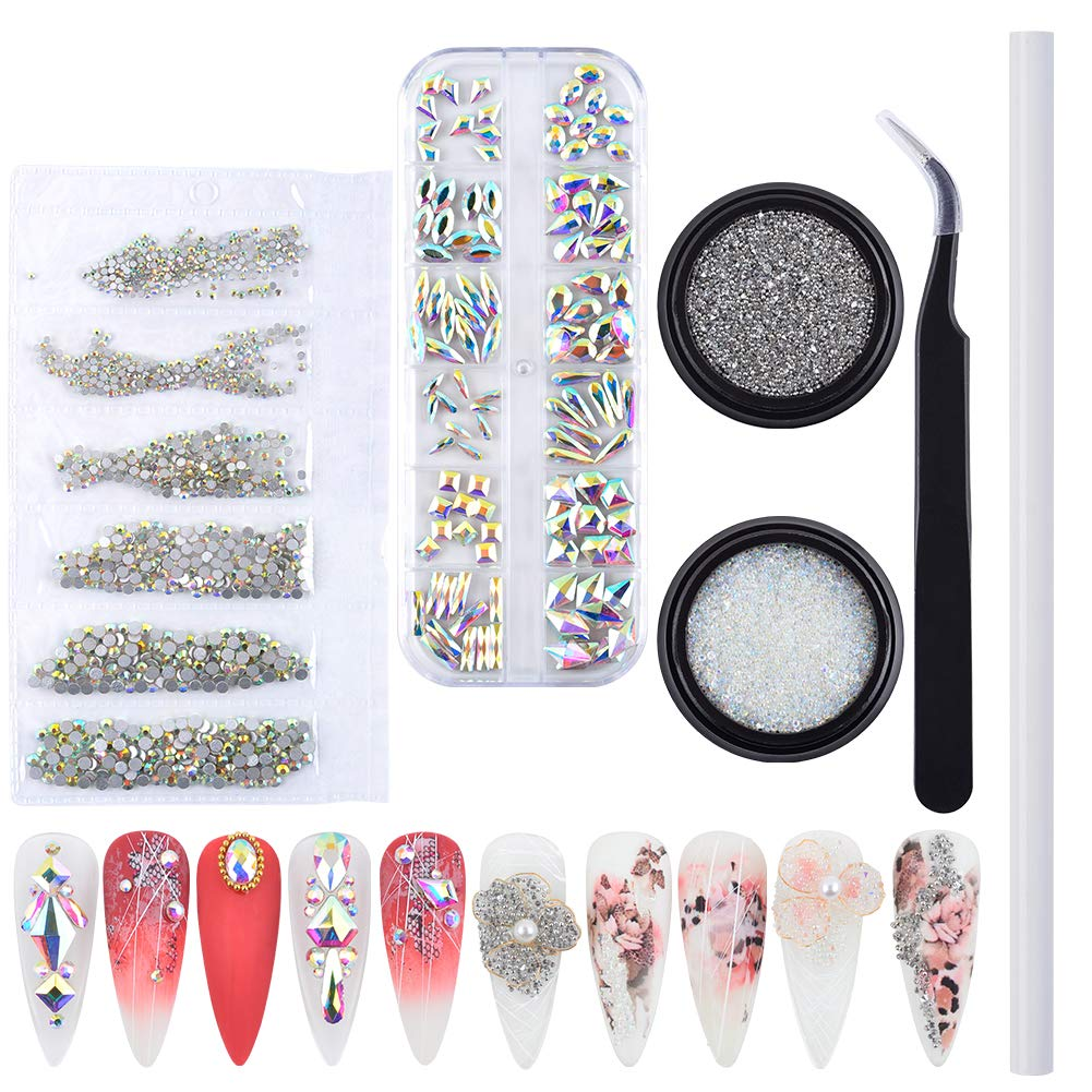 Max 76% OFF MELINDS 1560Pcs Nail Art Attention brand Multi Rhinestones AB 3D Shapes Crystal