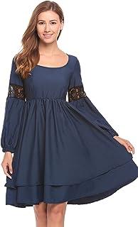 2b6076ef7a395e Meaneor Damen Kleid Langarm A-linie Doppel Ruffles Knielang Spitzenkleid  Festliche Patchwork Kleid
