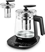 ICOOKPOT Multi-Use Electric Kettle Borosilicate Glass Tea Maker and Programmable Control Panel Base, Includes Filter, Egg Cooker and Yogurt Box, Keep Warm Function Water Pot Kettle, Black