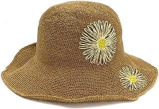 SHENTIANWEI 100% Women Handmade Raffia Straw Sun Hat Wide-Brimmed Hat Crochet Flower Beach Bucket Hat