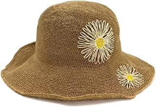 Summer hat 100% Women Handmade Raffia Stalk Sun Hat Wide-Brimmed Hat Crochet Flower Beach Bucket Hat hat (Color : Coffee, Size : 56-58CM)