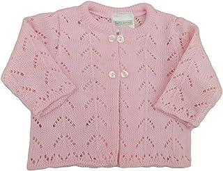 Kueza Girls 3D Blush Pink Flower Knitted Button-Down Round Neck Cardigan 6mths-5yrs
