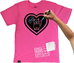 Chalk of the Town Raspberry Heart Short Sleeve T-Shirt w/ 3 Marker Kit (Youth Small)