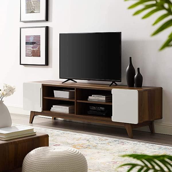 Modway 花纹 70 世纪中期现代低调媒体游戏机娱乐电视柜胡桃木白色