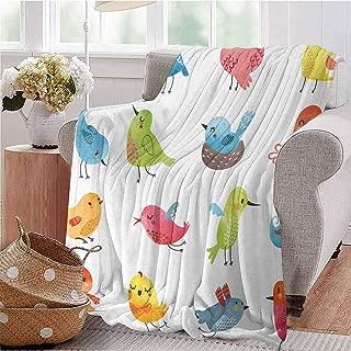 SSKJTC Digital Printing Blanket Colorful Cute Birds Watercolor Effect Humor Funny Mascots Paint Brush Art Kids Design Multi Dorm Bed Baby Cot Traveling Picnic W71 xL90