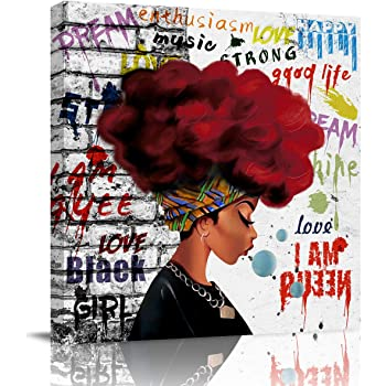 Amazon Com Sailground Canvas Wall Art Paintings Traditional African Black Woman Graffiti Girls With Red Hair Square Abstract Artwork Wall Decor Framed For Home Decoration Ready To Hang 12x12 Inch Posters Prints