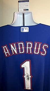 Elvis Andrus Texas Rangers Autographed Signed Memorabilia Majestic Jersey PSA/DNA Certified