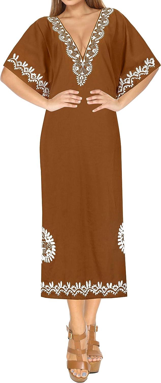 LA LEELA Women's One Size Evening Kaftan Elegant Dress Swim Cover Up Embroidery