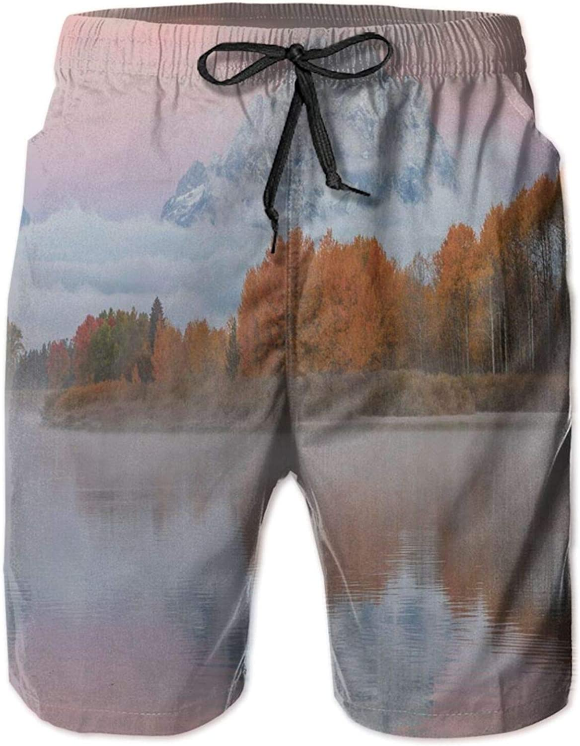 Mountains Scenery Misty Nature View Forest Lake Reflection Pink Sky Photography Swimming Trunks for Men Beach Shorts Casual Style,XL
