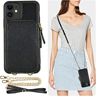 iPhone 11 Wallet Case, ZVE iPhone 11 Case with Credit Card Holder Slot Crossbody Chain Handbag Purse Wrist Strap Zipper Leather Case Cover for Apple iPhone 11 6.1 inch 2019 - Black