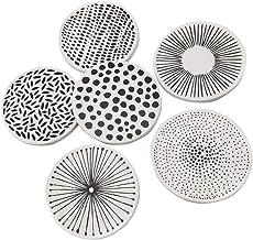 FRCOLOR 6pcs Ceramic Coasters Decorative Porcelain Coasters Round Drink Coasters Coffee Coasters Heat Resistant Absorbent ...