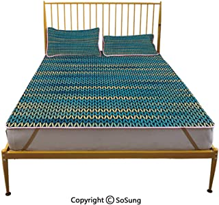 Yellow and Blue Creative King Size Summer Cool Mat,Knitted Melange Inspired Graphic Clothing Texture Pattern Decorative Sleeping & Play Cool Mat,Teal Navy Blue Light Yellow
