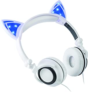 Headphone Over The Ear On The Head Light Up Cat Ear Feline Premium Quality Audio with Super Bass Comfort Padded Ear Cups Foldable 3.5MM Connector White Cat Headphone White CAT-12/0144
