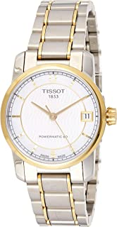 ساعة تيسوت للنساء بمينا بيضاء وسوار معدني- T087.207.55.117.00، سوار فضي، شاشة انالوج