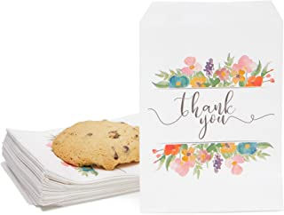 100 Pack Floral Thank You Paper Treat Bags for Cookies, Candy, Party Favors (5 x 7.5 in)
