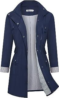 کت بارانی Twinklady باران زنانه ضد آستین راه راه بالا رفتن از کت بارانی ضد آب سبک وزن در فضای باز کلاه های کلاه دار