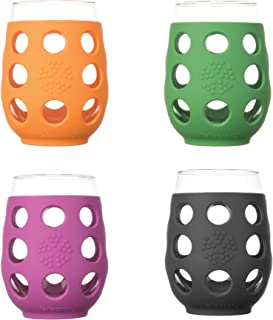 Lifefactory 17-Ounce BPA-Free Indoor/Outdoor Wine Glass with Protective Silicone Sleeve, 4-Pack, Multicolor
