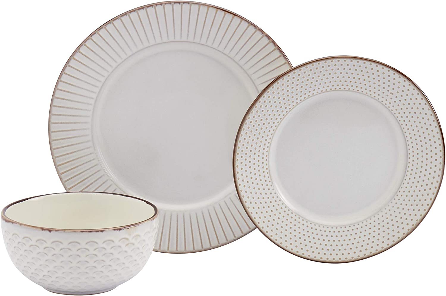 Tabletops Gallery Fashion Dinnerware Collection- Stoneware Embossed Rimmed Round Dishes Service for 4 Dinner Salad Appitizer Dessert Plate Bowls, 12 Piece Monroe in Cream