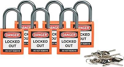 "Brady Compact Safety Locks - Orange, Keyed Different (6 Locks) - 118928,1 2/5"" H x 1 1/5"" W x 5/8"" D"