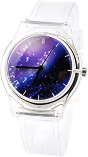 Tonnier Watches Resin Super Soft Band Student Watches for Teenagers Young Girls Starry (Transparent Nebula)