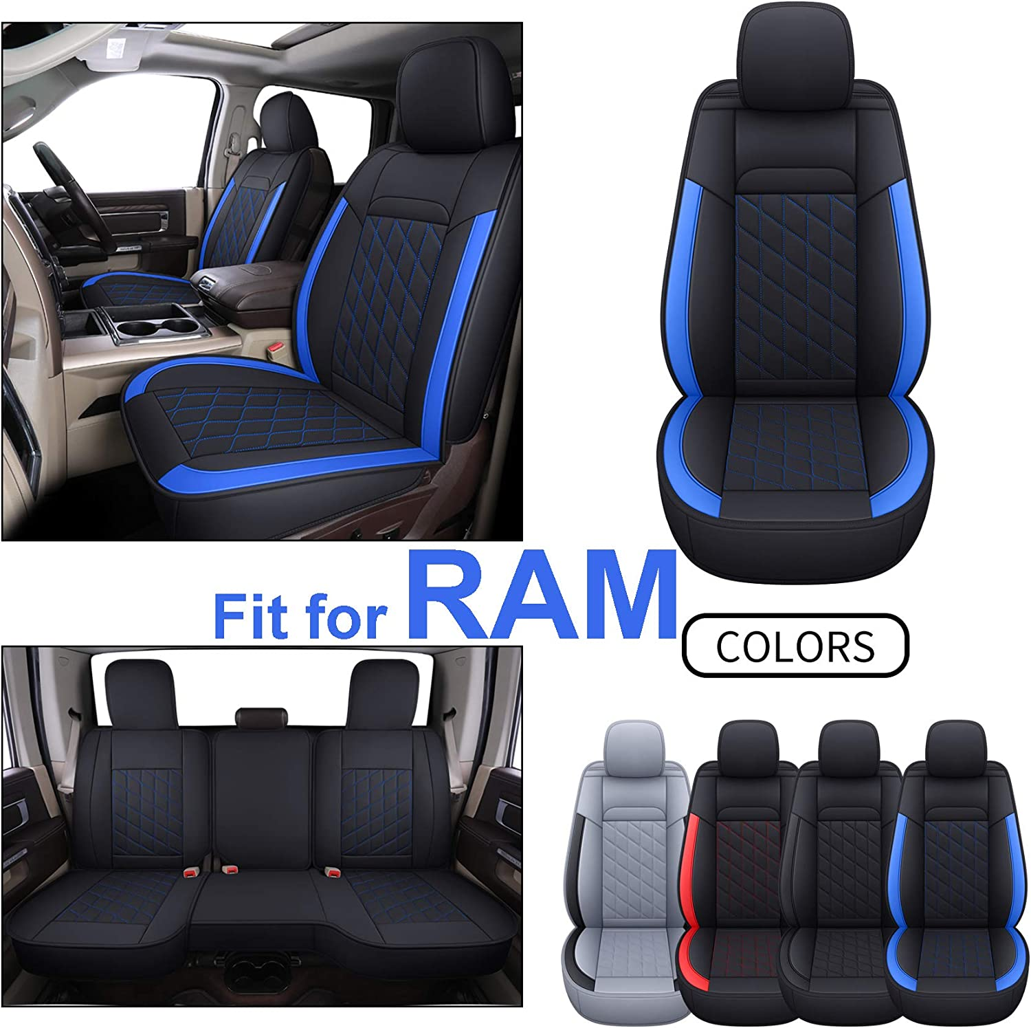 2019 2015 2018 2021 2016,2017 2020 2013 2014 Black INCH EMPIRE Seat Cover Full Set Fit for RAM 1500 2500 3500 2012-2021 with Curved Back Bench Synthetic Leather Water-Proof 2012