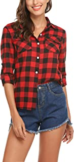 Women's Plaid Button Down Shirt Long Roll up Sleeve Blouse Casual Buffalo Top