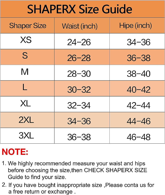 SHAPERX Shapewear for Women Tummy Control Fajas Full Body Shaper Butt Lifter Thigh Slimmer Shorts