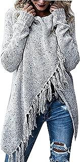 Womens Long Sleeve Cardigans Wrap Single Button Tassel Asymmetrical Hem Shawl Coat