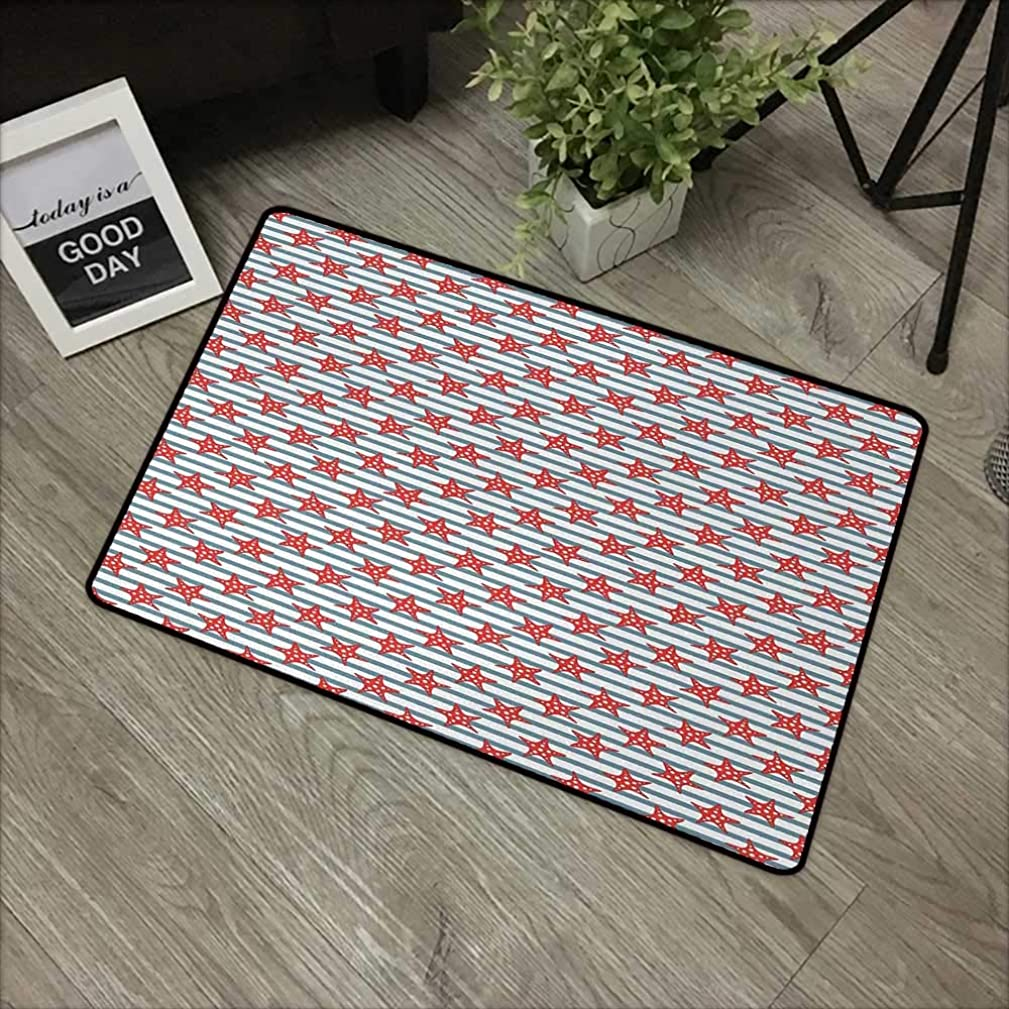 Outdoor door mat W35 x L47 INCH Starfish,Stripes Background with Dotted Seastar Pattern Exotic Subaquatic Animals,Slate Blue Red White Natural dye printing to protect your baby's skin Non-slip Door Ma