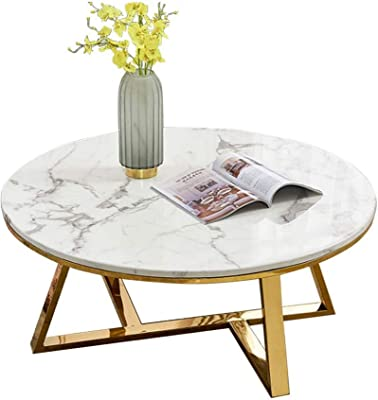 Living Room Table Furniture Home Coffee Table Simplistic Mid Century Side Table Accent,Faux White Marble Gold Metal Base,Stable Non-Shaking,31.5″x17.7″