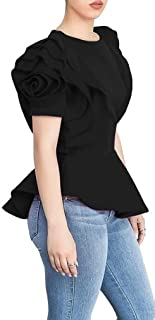 Women Round Neck Ruffle Short Sleeve Peplum Bodycon Blouse Shirts Tops