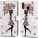 F�r Samsung Galaxy M20 H�lle Lader Tasche PU Lader H�lle Gemalt Muster Flip Brieftasche Kartenhalter Magnetschnalle St�nder Sto�fest Kratzfest Sto�stange Handyh�lle Blumenm�dchen